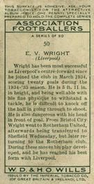 1935-36 W.D. & H.O. Wills Association Footballers #50 Vic Wright  Back