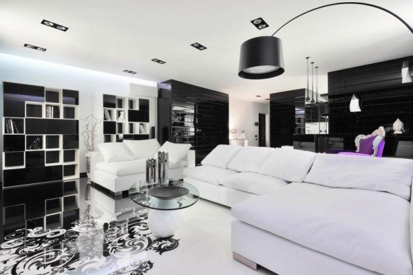 Wohnzimmer Farben Ideen Sofa Set-offene Regal-Systeme weiß-schwarz