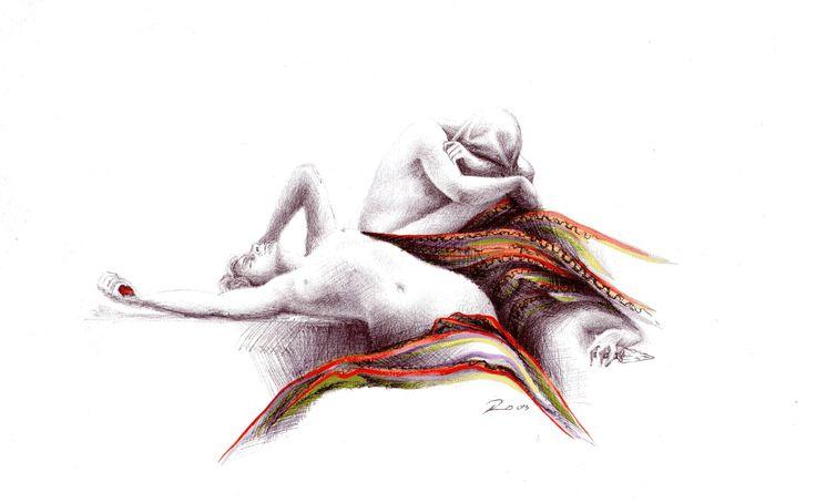 Dibujo a lápiz con acuarela. Pencil drawing with watercolor