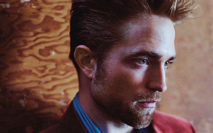 Download wallpapers Robert Pattinson, 4k, British actor, portrait, red jacket