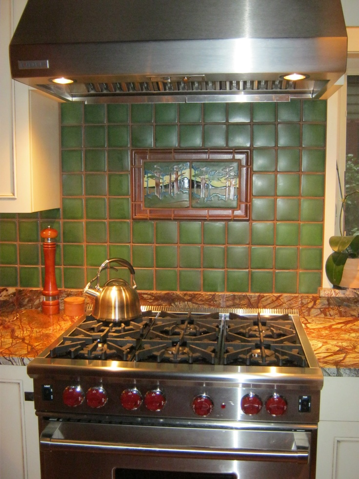 57 best images about kitchens by motawi on pinterest for Craftsman style kitchen backsplash