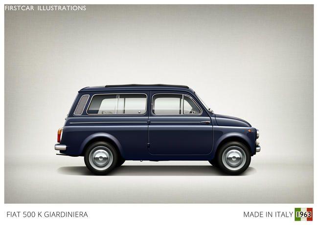 Firstcar Illustrations | Personalized Car Illustrations | Fiat 500 K Giardiniera 1963