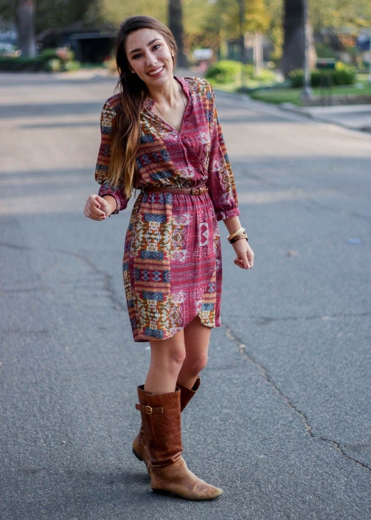 Aztec Patterned Dress with Tall Brown Riding Boots Fall Outfit Inspiration Moo's Musing with Jord Wood Unique watch