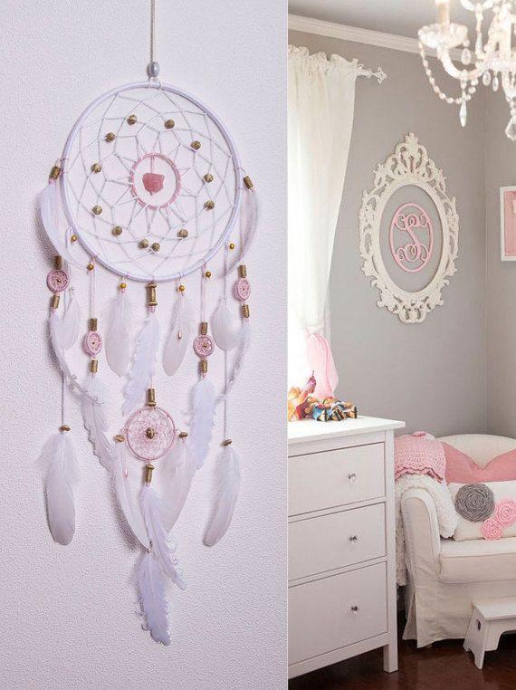 Gran atrapasueños rosa blanco y rosa por MagicalSweetDreams en Etsy
