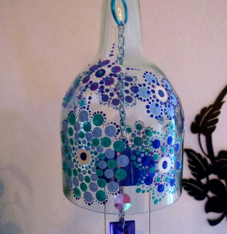 Large Wine bottle wind chime, Yard art, Recycled wine bottle, Mandalas, Light blue glass, Wind chime, Patio Decor, Blue, Purple by LindasYardArt on Etsy