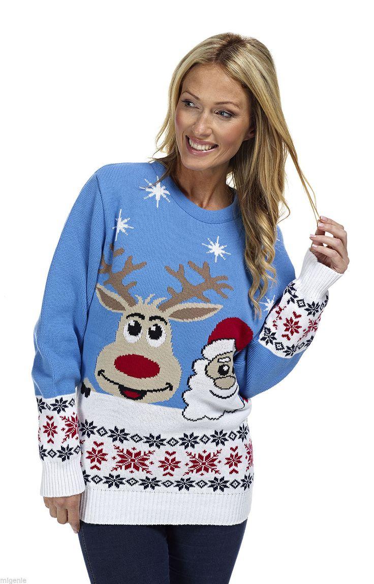 Kersttrui rendier/santa blauw - Kersttrui kopen - Bestel nu uw foute kersttruien online