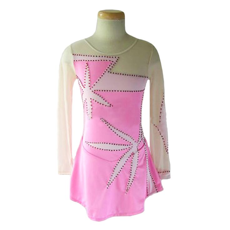 Customized Costume Ice Figure Skating Gymnastics Dress Competition Adult Child Skirt Performance Big Leaves Sleeve Rhinestone #Affiliate