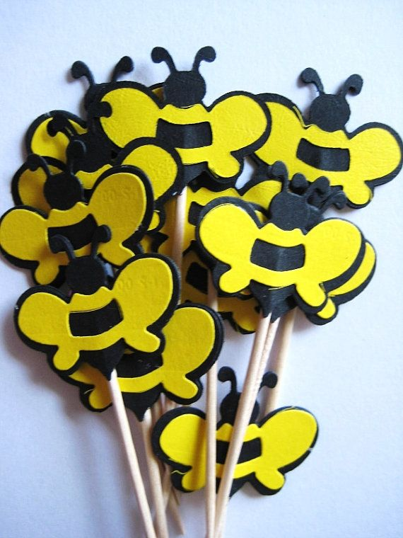 12 Bumble Bees Party Picks  Cupcake Toppers  by ThePrettyPaperShop, $5.99
