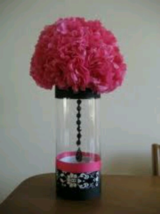 Pink black white damask wedding make vases similar for