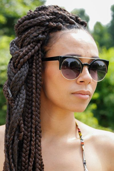 box braids: this hair but with twists instead of box braids makes me think of my friend at work :)