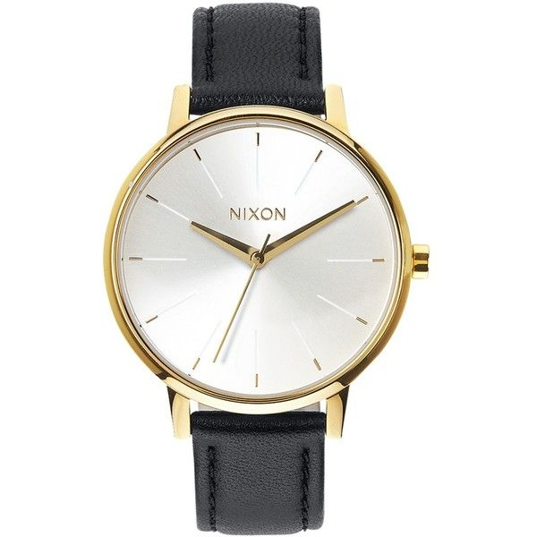 Nixon Women's The Kensington Leather Strap Watch , Black/White (270 SGD) ❤ liked on Polyvore featuring jewelry, watches, black and white jewelry, nixon wrist watch, dial watches, nixon jewelry and nixon watches