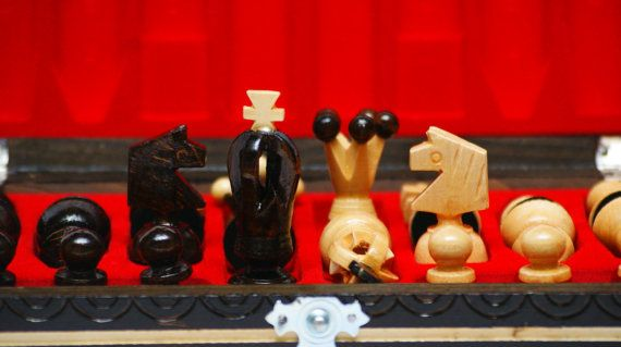 Check out this item in my Etsy shop https://www.etsy.com/listing/216153250/wooden-royal-mini-chess-board-and-pieces
