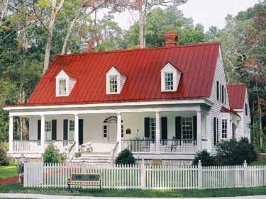 17 best images about red metal roof on pinterest for Farmhouse cottage house plans