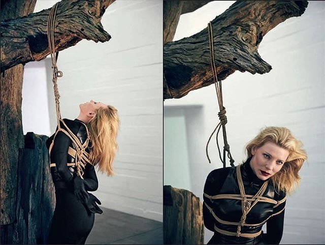 Omg 😍 these images of Cate Blanchett tied up and in leathers are making my crotch all tingly ⚰⚰⚰ #leatherfetish #shibari #kinbaku