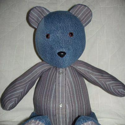 Memory bear made from Grandpa's jeans and western shirts.