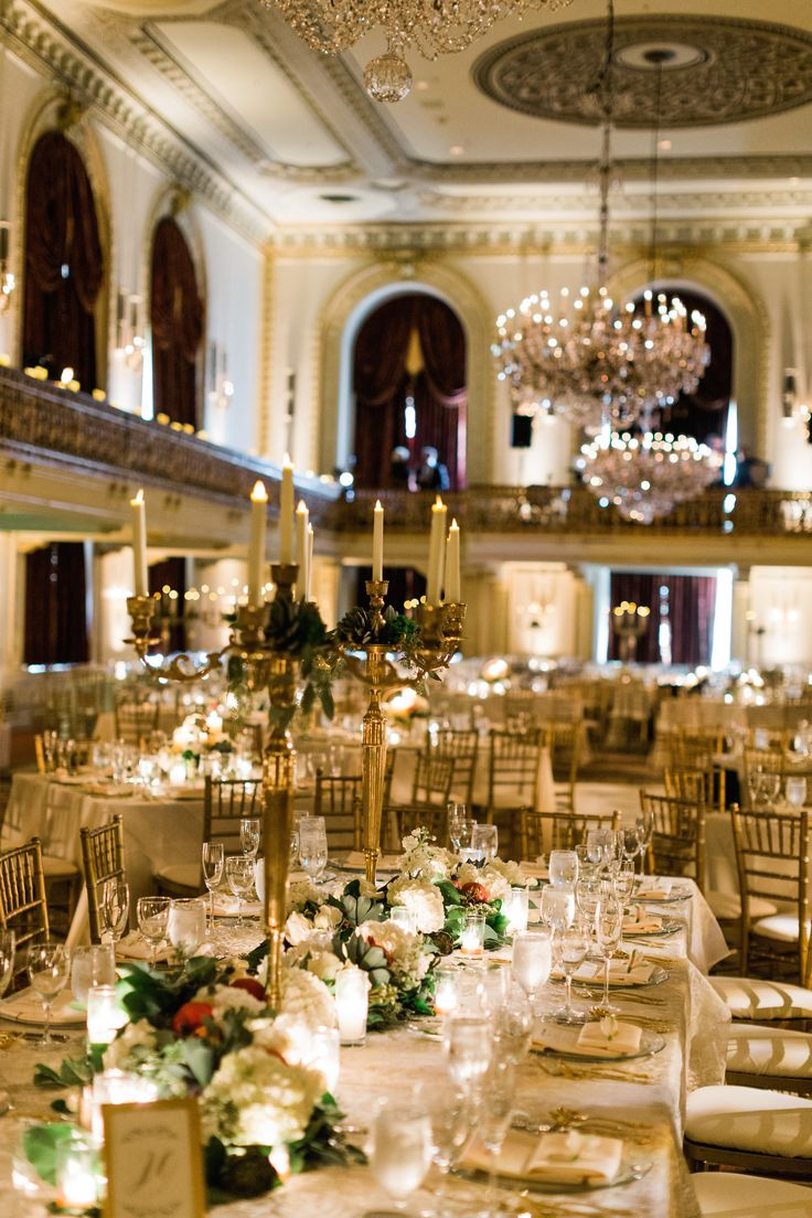 A stunning ballroom is the perfect setting for a black tie affair.