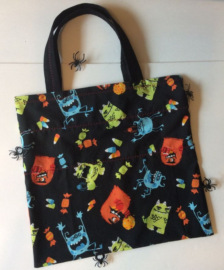 Halloween Trick-or-Treat Bag, Tote Bag, 2 Bags Available, Monster Print, Fabric…