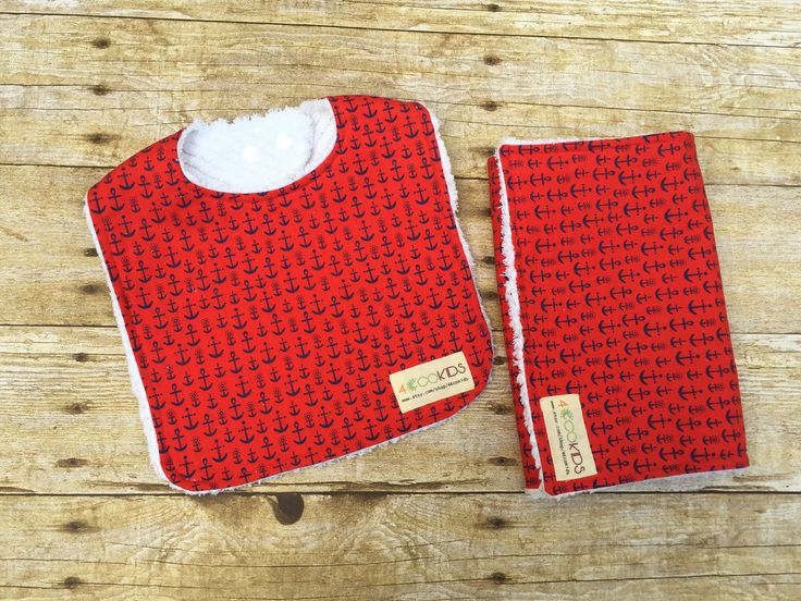 #forecokids #etsy shop: Etsy Baby bib and burp cloth set- Red nautical bib and burp set - Chenille bib and burp- Baby shower bib and burp set- Anchor baby bib http://etsy.me/2BGTrxY #children #baby #feeding #babyshower #burping #4ecokids
