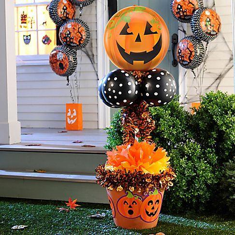 heres a pumpkin balloon tree the kids will love start with a pumpkin foil balloon - When To Start Decorating For Halloween