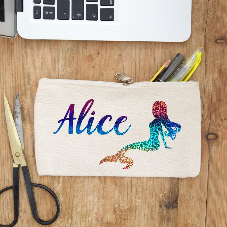 holographic rainbow mermaid personalised pencil case