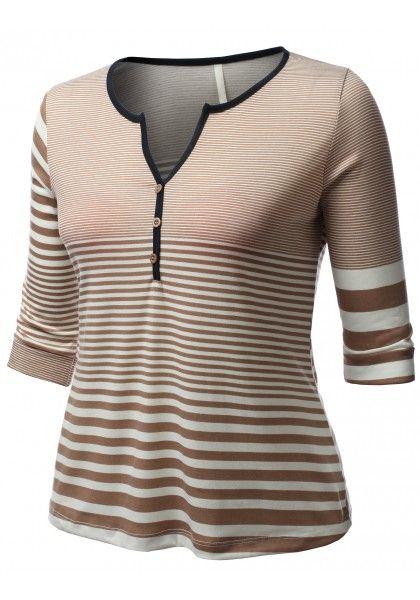 3/4 Sleeve Stripe Henley #jtomsonplussize