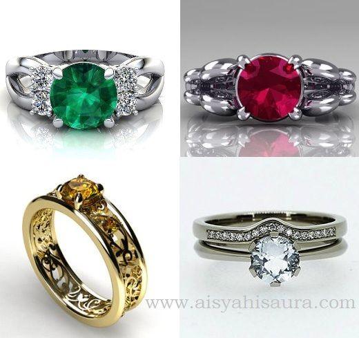 Kini semakin banyak pernikahan yang tidak hanya memakai cincin berlian, akan tetapi memakai batu permata. Berikut gambar cincin nikah untuk wanita.