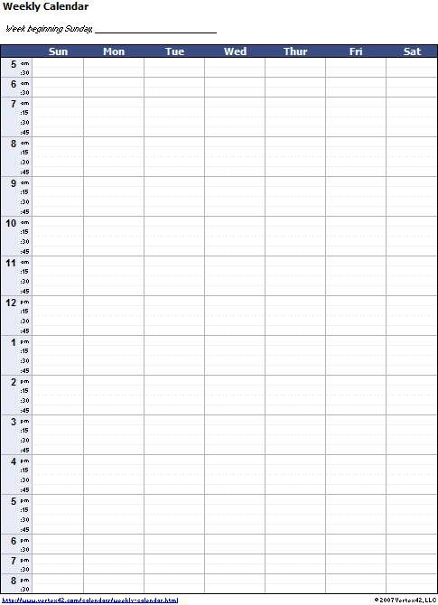 Blank Weekly Calendar Template With Times