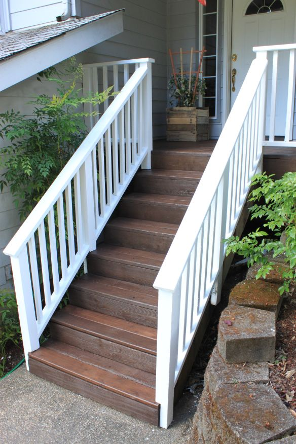 Dark brown with white railings home deck pinterest for Stained front porch