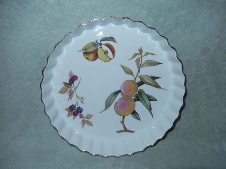 Royal Worcester Porcelain Tart Quiche Pan: Evesham Pattern Oven To Table VG