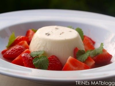 Panna cotta med limemarinerte jordbær
