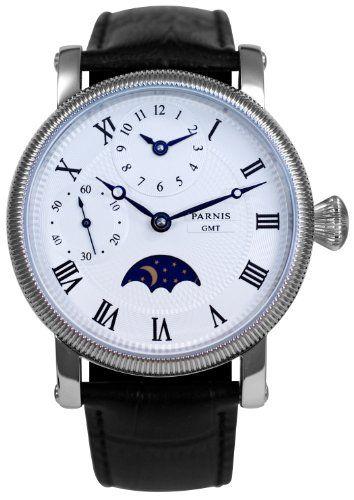 PARNIS Handaufzugs Herrenuhr Modell 2002 mechanische Armbanduhr Mondphase Lederarmband Edelstahl Handaufzugsuhr