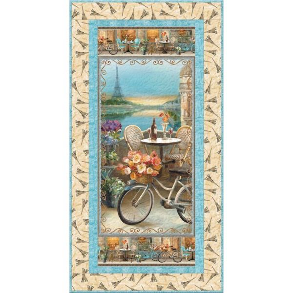 Wilmington Prints Le Cafe Spring in Paris Wall Hanging Quilt Kit 34.5 by 66.6 | Quilt Kit