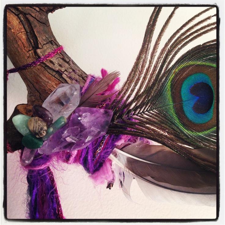 handmade Peacock feather and purple crystal eye dream catcher @Zamfyre Designs