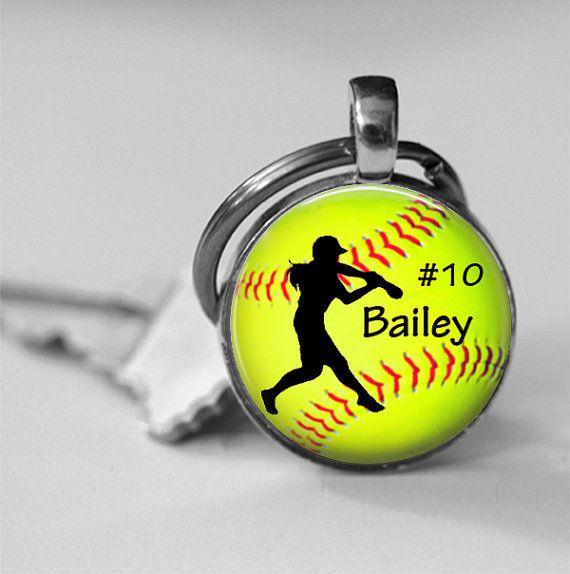 Personalized Girls Softball Trophy Neon Ball by customdesignstudio