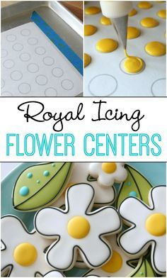 Make royal icing flower centers with this free printable template.  A great way to use left-over icing!