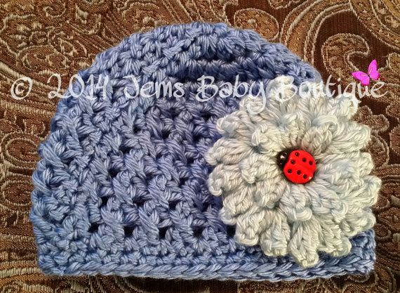 Adorable cornflower blue Crochet Baby Girl Hat with pale blue flower,  Ready to Ship, Baby Girl  Hat with Flower,  Photo Prop Beanie on Etsy, $14.00