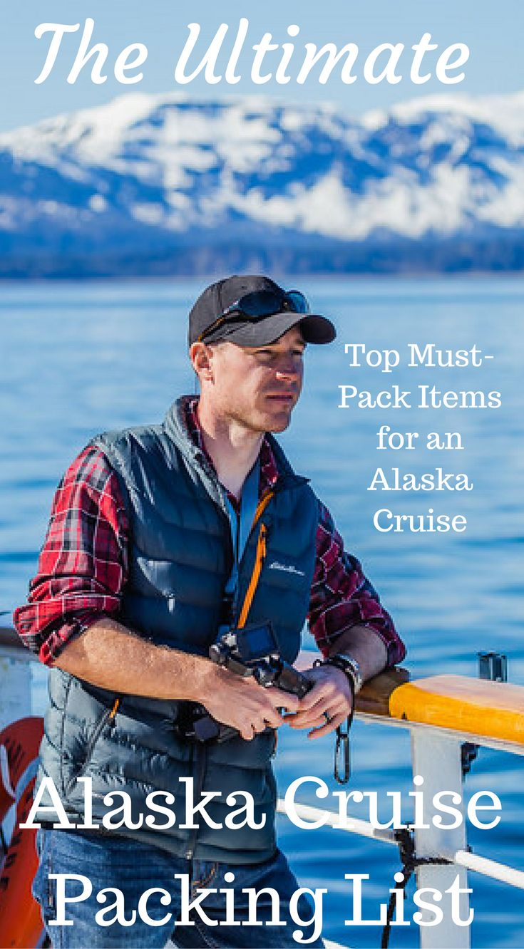 The ultimate Alaska cruise packing list. Top must pack items for an Alaska cruise. Here's our recommended packing list for everything you'll need to bring on your Alaskan vacation. Click to read the full travel blog post by the Divergent Travelers Adventure Travel Blog https://www.divergenttravelers.com/ultimate-alaska-packing-list/