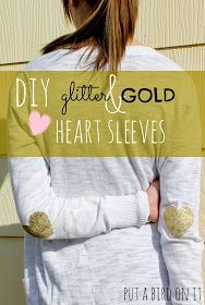Put A Bird On It: DIY Glitter & Gold Heart Sleeves made with Homemade Fabric Paint ... And A Silhouette Studio Tutorial