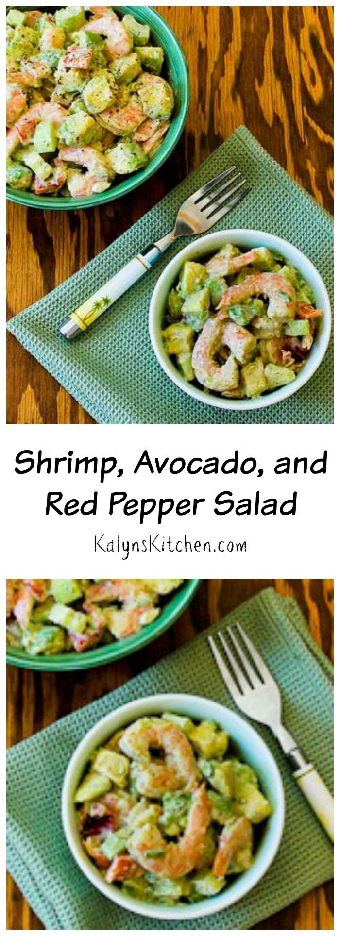 This Shrimp, Avocado, and Red Pepper Salad is delicious for an easy low-carb dinner that feels like a treat. If you use approved mayo, this can be Paleo or Whole 30 approved. [from KalynsKitchen.com]