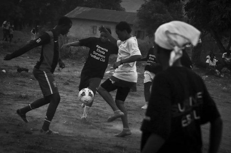 Sports, 3rd prize stories. Erison Turây plays in a practice match with female members of the Ebola Survivors Football Club in the city of Kenema, Sierra Leone, April 21, 2015.
