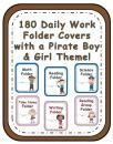 Elementary Work Folders / Daily Folders Covers ~ Pirate Boys & Girls ~ 80 Pages! product from Fern-Smith on TeachersNotebook.com