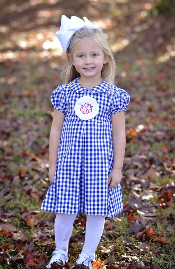 Navy Gingham Tab Dress W Blank Monogrammable Tab Turkey