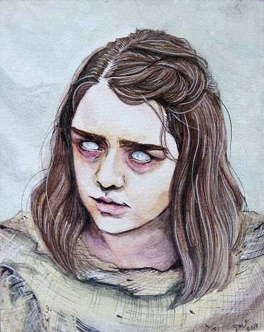 Joffrey... Cersei... Ilyn Payne... the Hound. Joffrey... Cersei... Ilyn Payne... the Hound. Joffrey... Cersei... Ilyn Payne... the Hound.   ~Arya Stark  Original painting of Arya Stark from Game of Thrones. Listing is for a high quality print of the painting, 8x10.