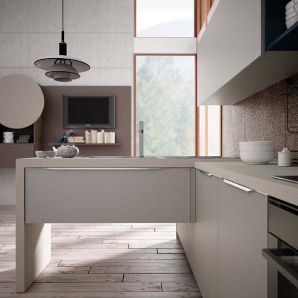 Valencia. Open Collection. Colour touches for creative geometry. Design by R&D Center. #kitchen #design #detail