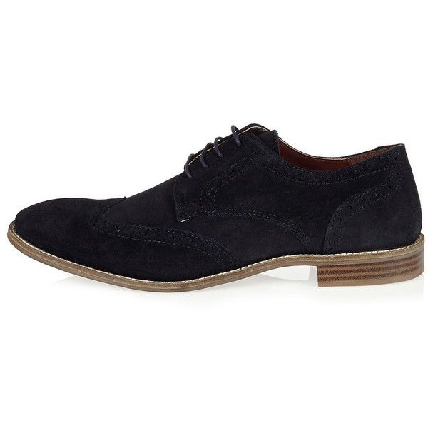 River Island Navy suede brogues ($49) ❤ liked on Polyvore featuring men's fashion, men's shoes, men's oxfords, navy, shoes, mens navy shoes, mens navy blue suede shoes, mens navy suede shoes, mens wing tip shoes and navy blue mens shoes