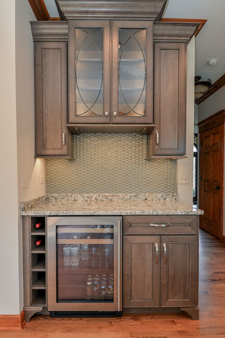 Kitchen Refreshment Center: Wellborn Cabinet, Inc. Premier Series Sonoma door style on Maple wood stained with Drift. @sebringservices