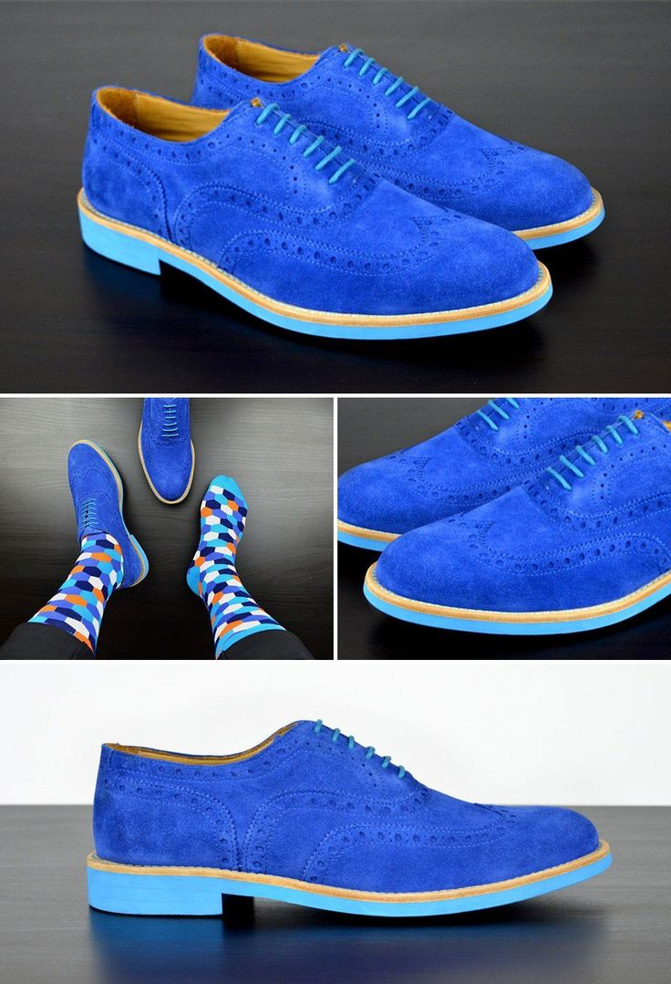 Electric Blue Suede Brogues