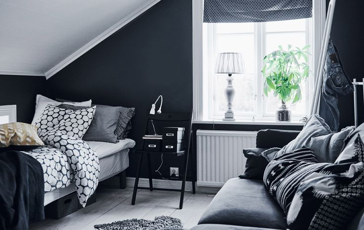 Mix a monochrome colour scheme with smart storage for a cool yet practical teen bedroom | #IKEAIDEAS