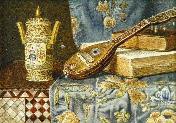 Max Schodl (1834-1921) - Stilleben mit chinesischer Vase, laute und buchern