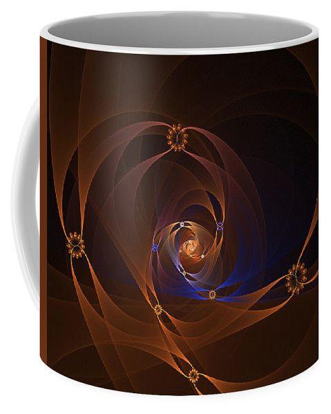 Fractal Coffee Mug featuring the digital art Floral Swirl by Elena Ivanova IvEA  #ElenaIvanovaIvEAFineArtDesign #Decor #Mug #Cup #Gift